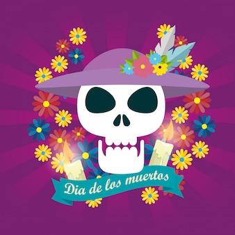Mulher de caveira com chapéu e flores para o dia dos mortos