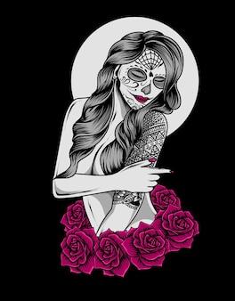 Mulher de caveira de açúcar maquiagem