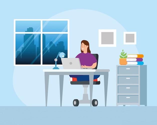 Mulher de cena trabalhando em casa design de ilustração de personagens de avatar