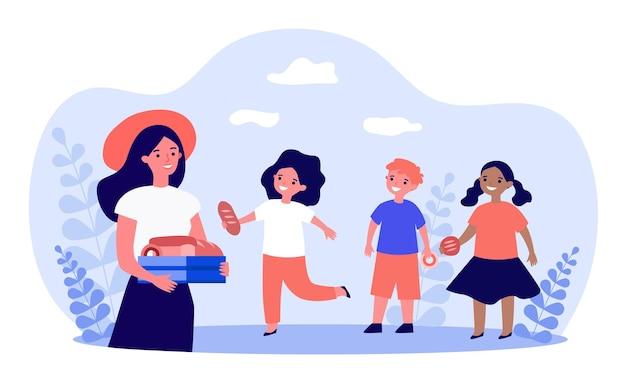 Mulher de chapéu vermelho tratando crianças com bolos. ilustração em vetor plana. jovem, segurando na caixa de mãos com pães, donuts, bolos, crianças felizes com o tratamento. alimentos, doces, infância, conceito de sobremesa