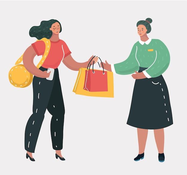Mulher de compras com consultor
