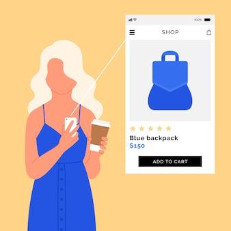 Mulher de compras on-line