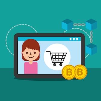 Mulher de compras online bitcoin blockchain commerce