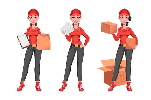 Mulher de correio, conjunto de três poses