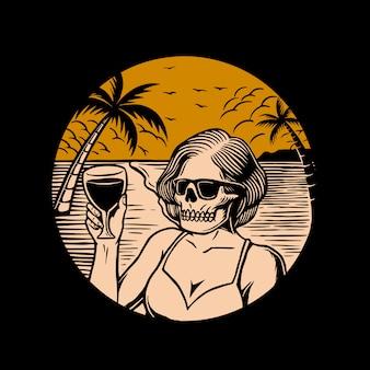 Mulher de crânio de ilustração na praia
