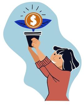 Mulher de crescimento financeiro e renda economizando dinheiro
