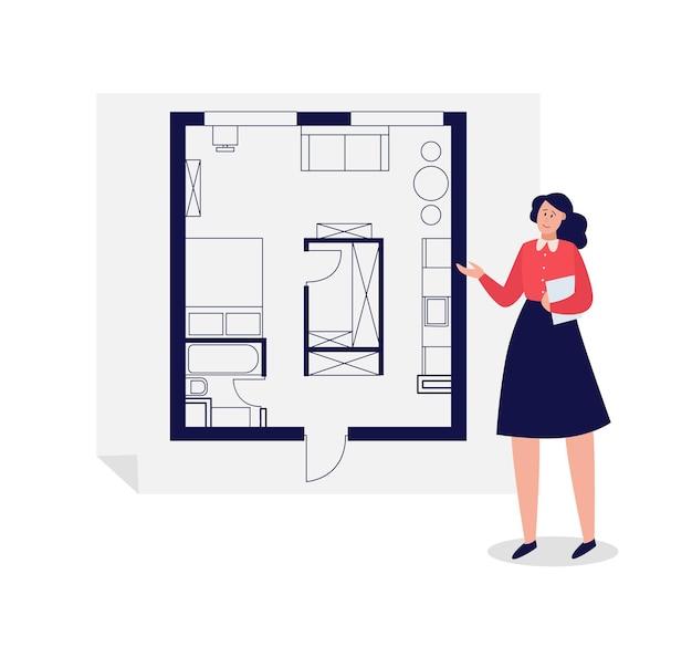 Mulher de desenho animado apresentando o projeto do arquiteto com layout de casa ou apartamento