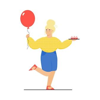 Mulher de desenho animado com balão de aniversário e bandeja de cupcake dançando