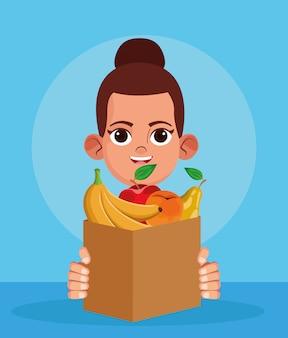 Mulher de desenho animado com saco de papel com frutas, design colorido