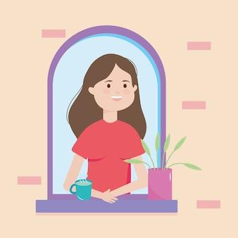 Mulher de desenho animado com uma caneca de café na janela