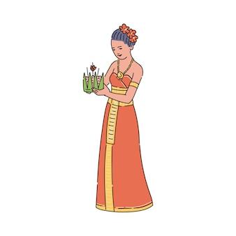 Mulher de desenho animado com vestido tradicional da tailândia segurando uma cesta do festival loy krathong, cerimônia de feriado budista