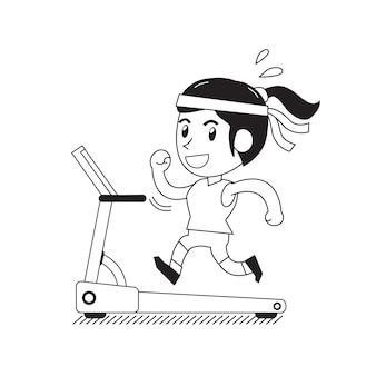 Mulher de desenho animado correndo na esteira