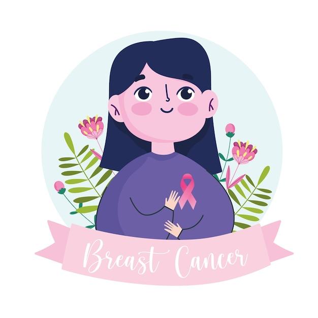 Mulher de desenho animado de câncer de mama com ilustração de banner de flores de fita rosa