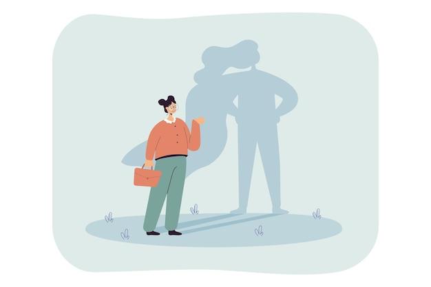 Mulher de desenho animado de sucesso com sombra de super-herói