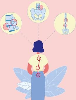 Mulher de desenho animado em pé com curvatura da coluna vertebral