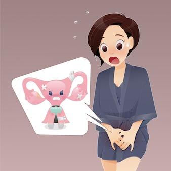 Mulher de desenho animado em pijamas roxo escuro com coceira genital causada pelo fungo