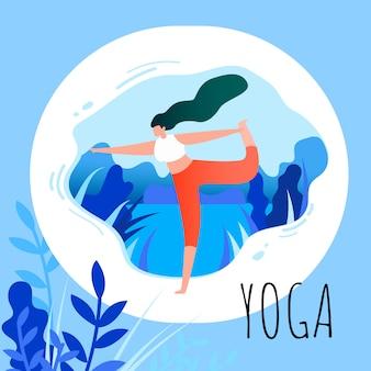 Mulher de desenho animado em posição de asana fazendo yoga