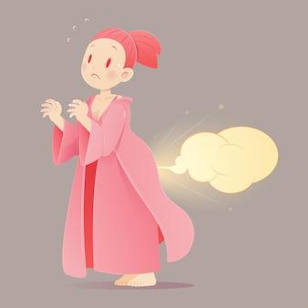 Mulher de desenho animado em uma camisola rosa peidando, vetor, desenho animado de cara engraçada, ilustração