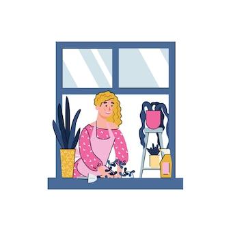 Mulher de desenho animado jardinagem na janela de casa conceito de passatempo de quarentena