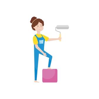 Mulher de desenho animado segurando um rolo de pintura sobre fundo branco