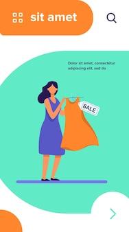 Mulher de desenho animado segurando um vestido à venda