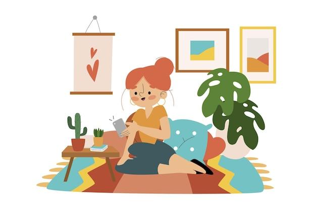 Mulher de desenho animado tirando fotos com smartphone