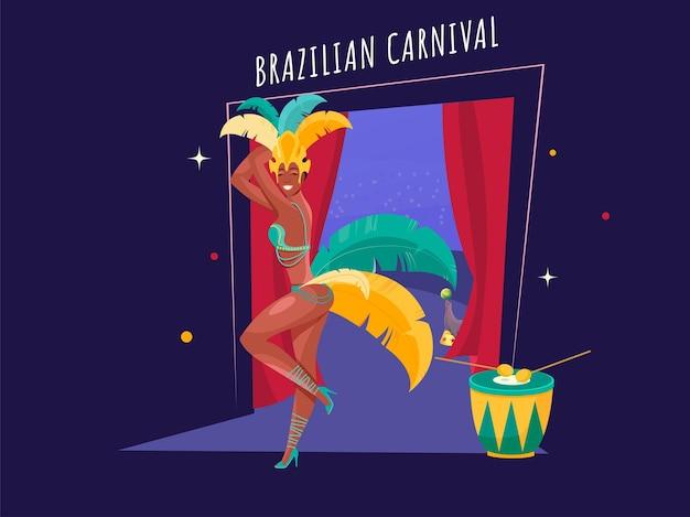 Mulher de desenho animado tocando dança de samba com instrumento de bateria
