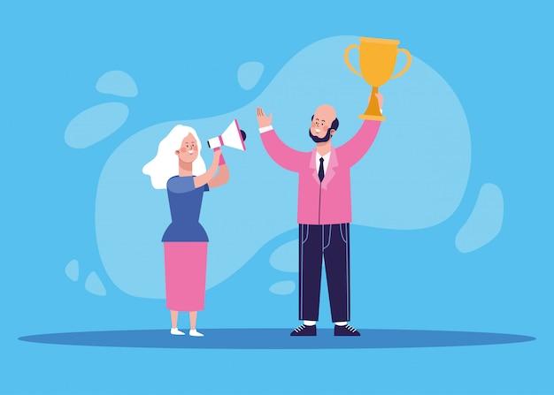 Mulher de desenho animado, usando um megafone e empresário segurando um troféu