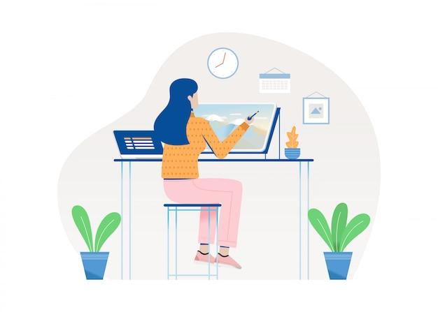Mulher de desenho sobre o tablet, mulher que trabalha em sua casa. ilustração plana.