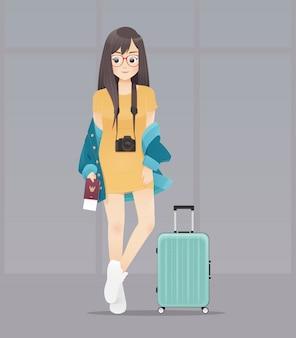 Mulher de desenhos animados com passaporte e bagagem, segurando o passaporte e bilhetes, design de personagens de ilustração