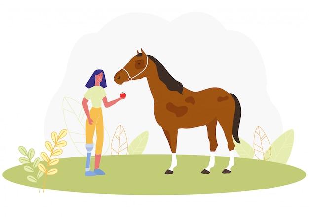 Mulher de desenhos animados com perna protética alimentação apple cavalo