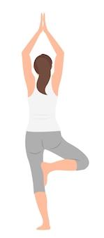 Mulher de design de personagem de desenho animado praticando ioga em pé em uma perna. ideal para impressão e web design.