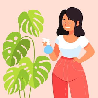 Mulher de design plano cuidando da planta