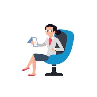 Mulher de design plano está sentado em uma cadeira