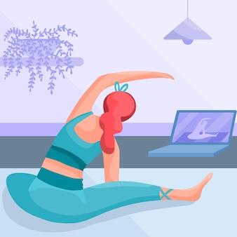 Mulher de design plano fazendo yoga