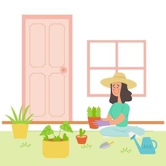 Mulher de design plano jardinagem em casa