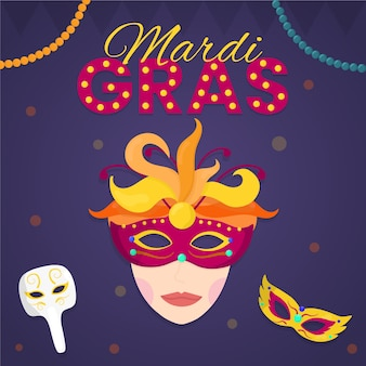 Mulher de design plano mardi gras usando máscara