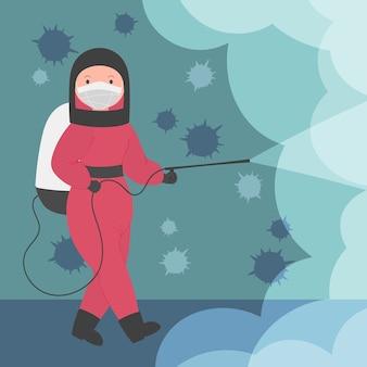 Mulher de desinfecção por vírus com equipamento