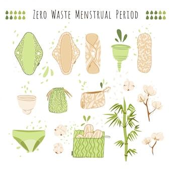Mulher de desperdício zero período menstrual cartoon plana conjunto com produtos eco friendly - reutilizáveis almofadas menstruais, panos, copo, reciclar sacos de algodão têxtil.