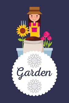 Mulher de distintivo de jardim decoração de flores em vaso