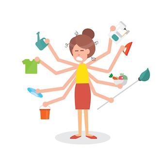 Mulher de dona de casa multitarefa ocupada