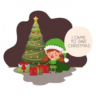 Mulher de elfo com árvore de natal e presentes