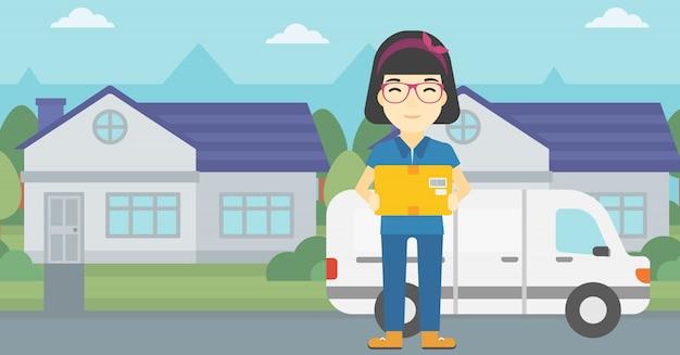 Mulher de entrega carregando caixas de papelão.