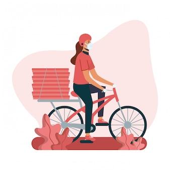Mulher de entrega com máscara de bicicleta e caixas de design
