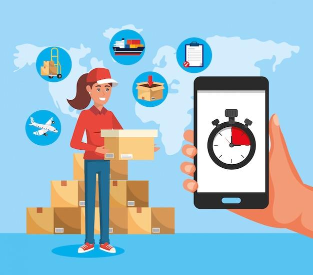 Mulher de entrega com serviço de caixas e smartphone com cronômetro