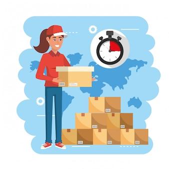 Mulher de entrega com serviço de pacotes de caixas e cronômetro