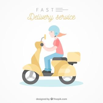 Mulher de entrega feliz em scooter