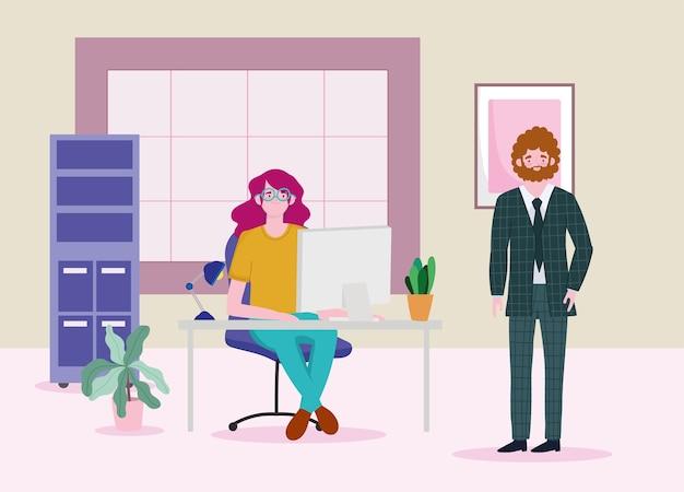 Mulher de escritório trabalhando com laptop na mesa e empresário