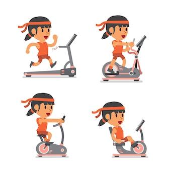 Mulher de esporte dos desenhos animados com máquinas de exercício