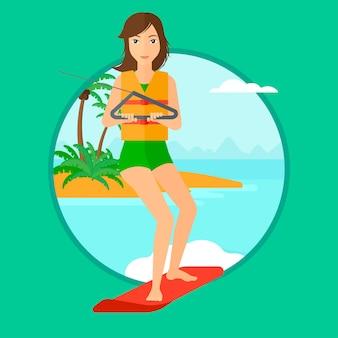 Mulher de esportes wakeboard profissional.